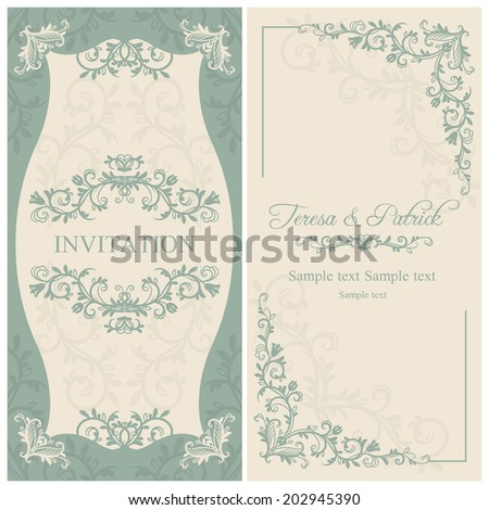 Antique baroque wedding invitation, blue on beige background - stock vector
