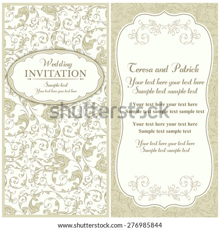 Antique baroque wedding invitation card in old-fashioned style, beige - stock vector