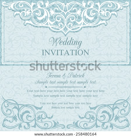 Antique baroque wedding invitation card in old-fashioned style, blue and white - stock vector
