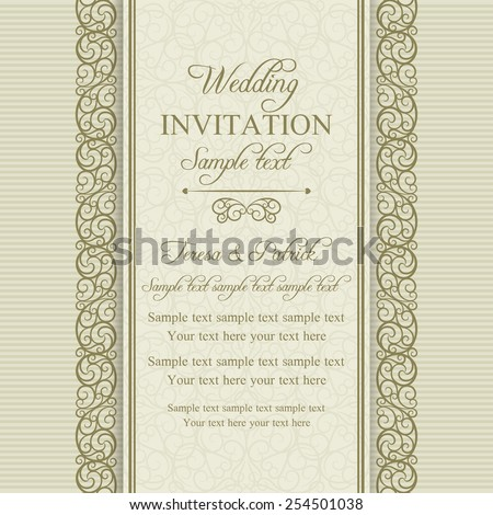Antique baroque wedding invitation card in old-fashioned style, gold and beige - stock vector