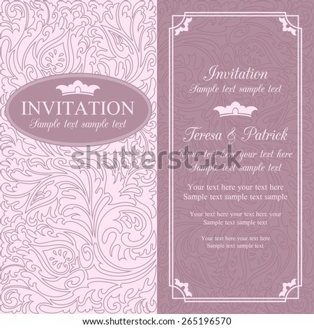 Antique baroque wedding invitation card in old-fashioned style, pink - stock vector
