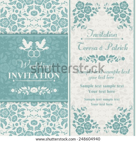 Antique baroque wedding invitation, couple of birds with ring, blue and beige