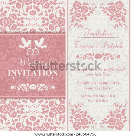 Antique baroque wedding invitation, couple of birds with ring, pink and beige - stock vector
