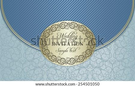 Antique baroque wedding invitation envelope, ornate round frame, gold and blue - stock vector