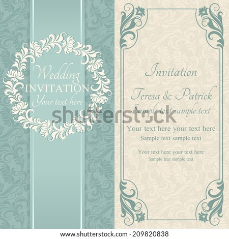 Antique baroque wedding invitation, ornate round frame, blue and beige - stock vector