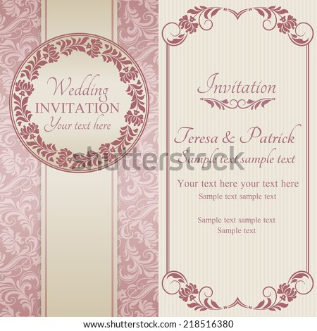 Antique baroque wedding invitation, ornate round frame, pink on beige background - stock vector