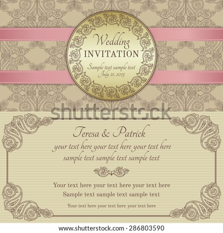 Antique baroque wedding invitation with pink ribbon, ornate round frame, gold, brown and beige - stock vector