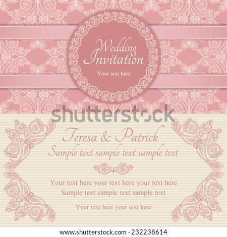 Antique baroque wedding invitation with pink ribbon, ornate round frame, pink and beige