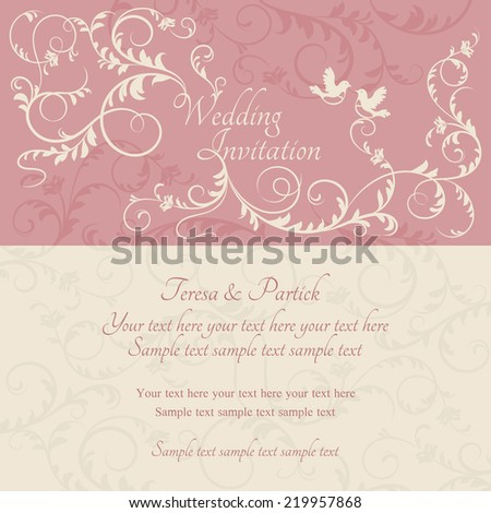 Antique baroque wedding ornate invitation, couple of birds, pink and beige - stock vector