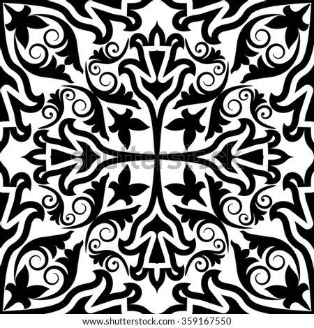 antique black and white pattern seamless - stock vector