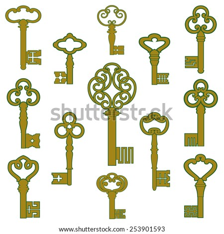 Antique bronze keys with patina decor