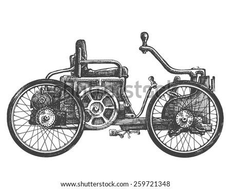antique car vector logo design template. transport or vehicle icon. - stock vector