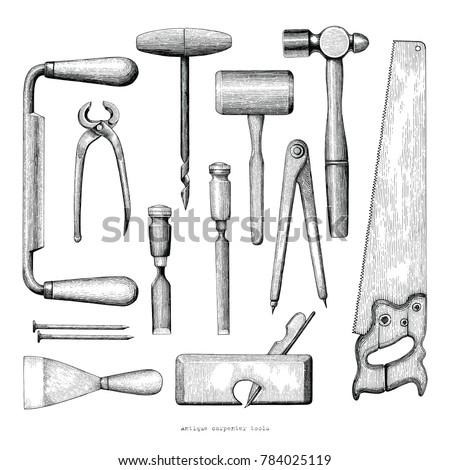 Antique Carpenter Tools Hand Drawing Vintage Stock Vector (Royalty ...