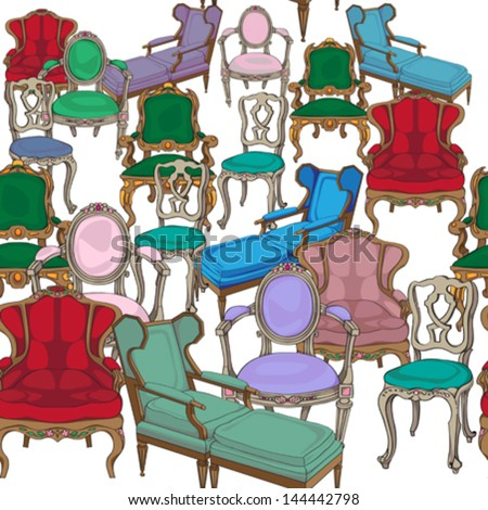 Antique chairs seamless pattern, hand drawn colored doodles over white background - stock vector