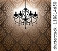 antique chandelier light in the room with vintage wallpaper - stock vector