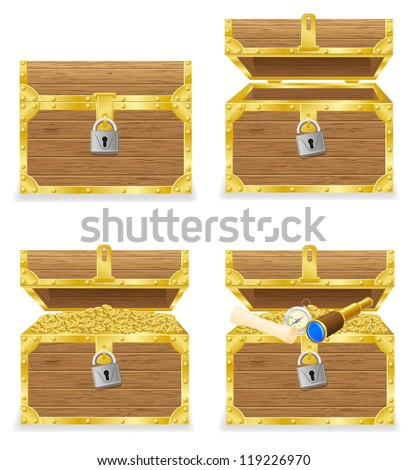 antique chest vector illustration isolated on white background - stock vector
