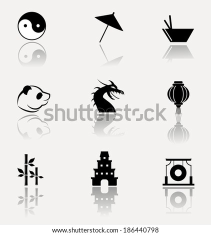 Antique China icons collection. Vector illustration. - stock vector
