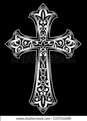 Antique Christian Cross - stock vector