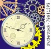 antique clock with a crack on the face, against a background of gears - stock vector