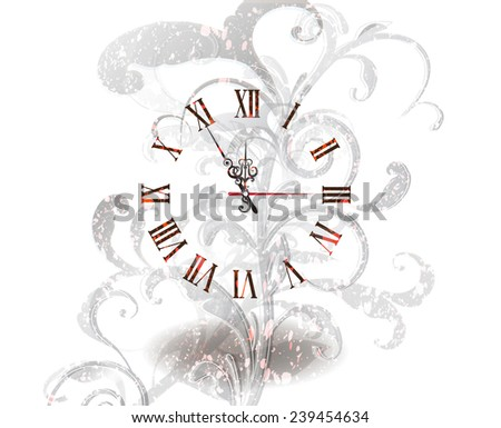 Antique Clock With Floral Ornaments - stock vector