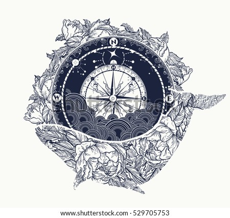 M Rank Antique Compass And Floral