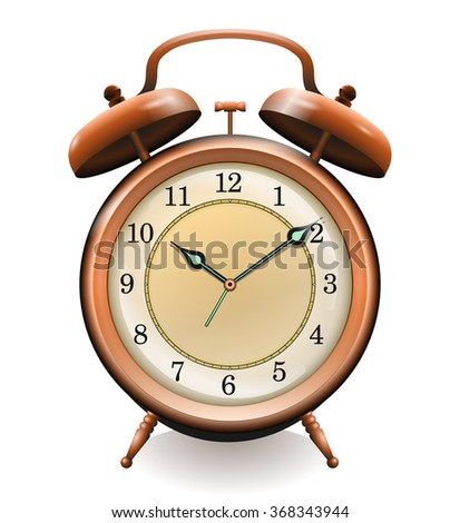 Antique copper alarm clock isolated on white vector. All elements sorted and grouped in layers