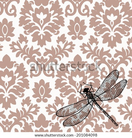 Antique damask with dragonfly  - stock vector