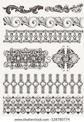 antique design elements and page decoration - stock vector