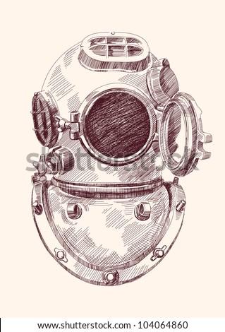 Antique divers helmet hand drawn vector llustration - stock vector