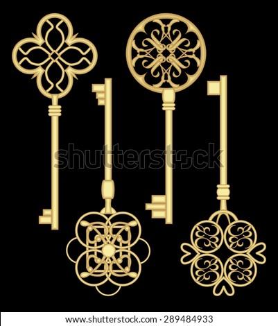 Antique door key set. Gold gate key collection. Metallic art deco key. Keys - Antique Door Key Set Gold Gate Stock Vector 289484933 - Shutterstock
