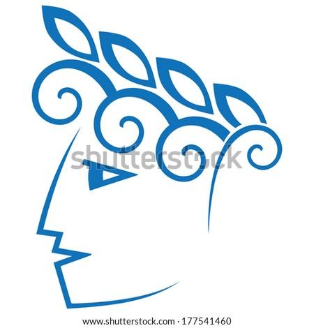 antique face sign - stock vector