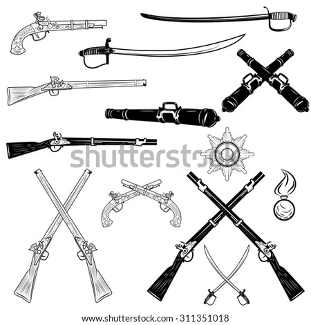 antique firearms and swords,vector illustration - stock vector