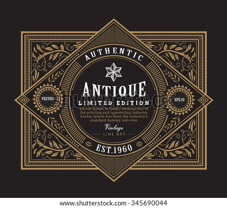 antique frame vintage border western label hand drawn engraving retro vector illustration - stock vector
