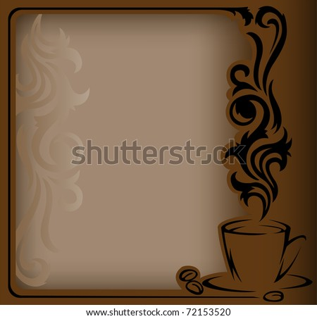 antique frame with a stylized  a cup of coffee and coffee beans - stock vector