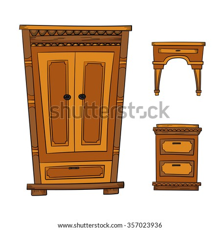 Antique Furniture Set: Closet, Dresser, Nightstand Isolated On A White  Background. Vector