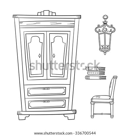 Antique furniture set: closet, lamp, book and chairs isolated on a white background. Vector drawing lines. - stock vector