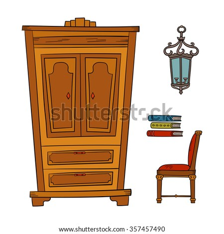 Antique Furniture Set: Closet, Lamp, Book And Chairs Isolated On A White  Background