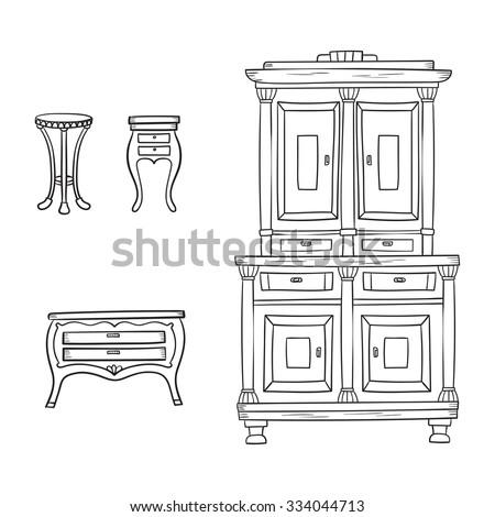 antique furniture set closet nightstand bureau stock vector 334044713 shutterstock. Black Bedroom Furniture Sets. Home Design Ideas