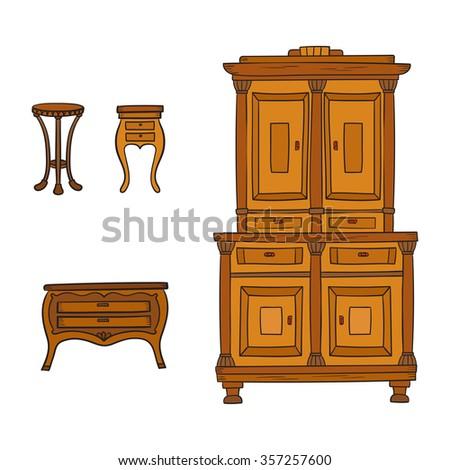 Antique Furniture Set Antique Bureau Table Stock Vector 357910871