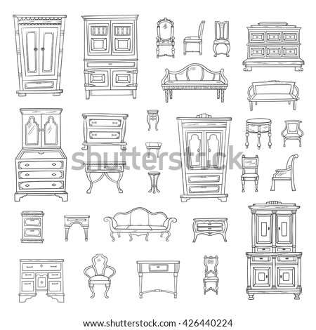 Antique furniture set: closet, nightstand, closet, chairs, nightstands and bureaus isolated on a white background. Vector hand drawn retro collection. Sketch style. - stock vector
