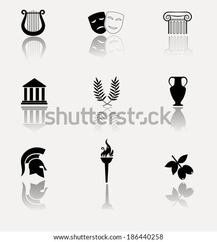 Antique greek culture icons. VECTOR illustration. - stock vector