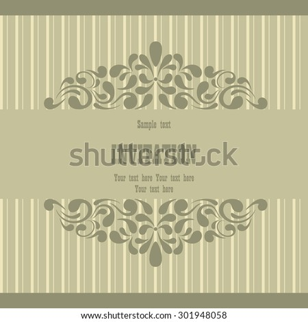 antique greeting card. vintage invitation card with victorian pattern. beautiful, luxury postcard. vector illustration. cover. idea for wedding decoration.