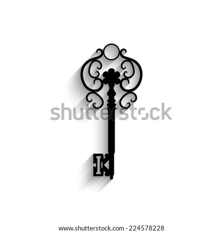 Antique key - black vector icon with shadow
