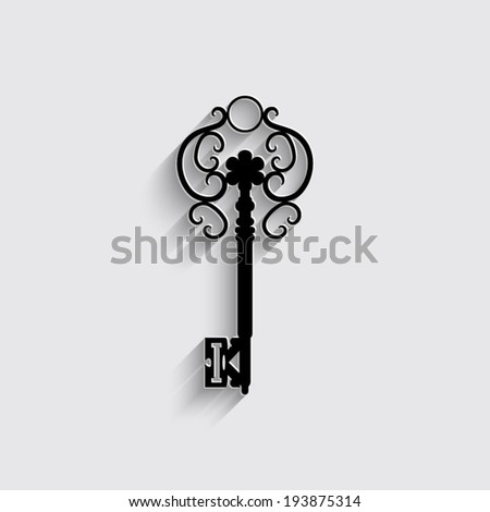 Antique key icon with shadow on a grey background