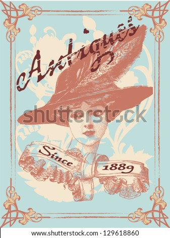 Antique lady - stock vector
