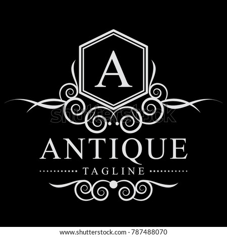 antique gray color antique luxury logo silver grey color stock vector 787488070