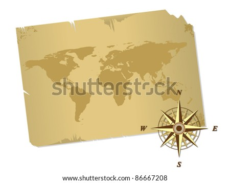 Antique map and compass vector - stock vector
