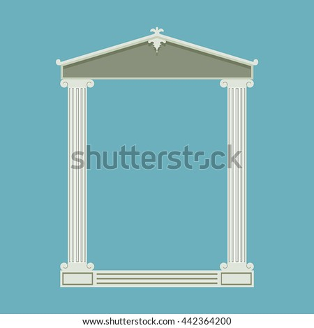 Antique marble temple front with ionic columns, vector illustration