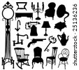 antique objects set - stock vector