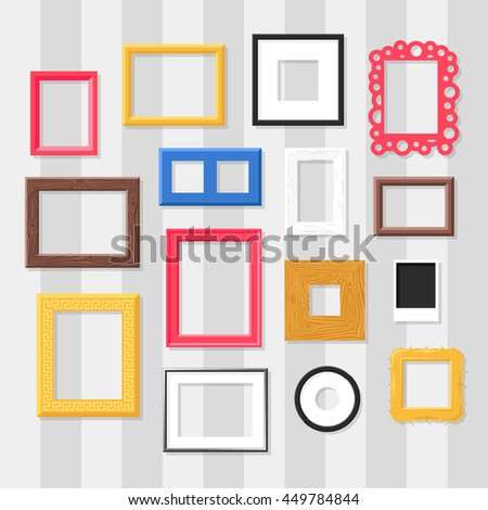 Antique photo frame isolated on white background. Vintage cartoon photo frame picture painting drawing template icon set retro design vector illustration. Stylish wall gallery background. - stock vector